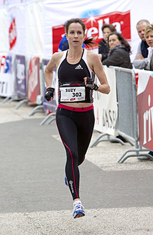 Suzy Walsham, winner and new record holder at Tower Running, Basel start