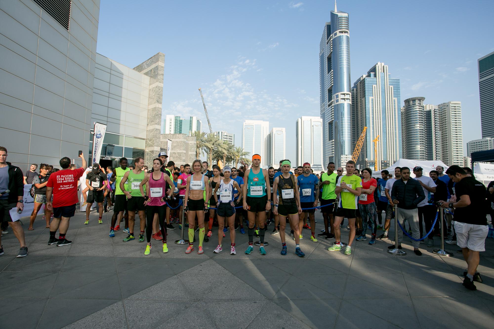 The elite runners ready for the start. ©Dubai Holding SkyRun