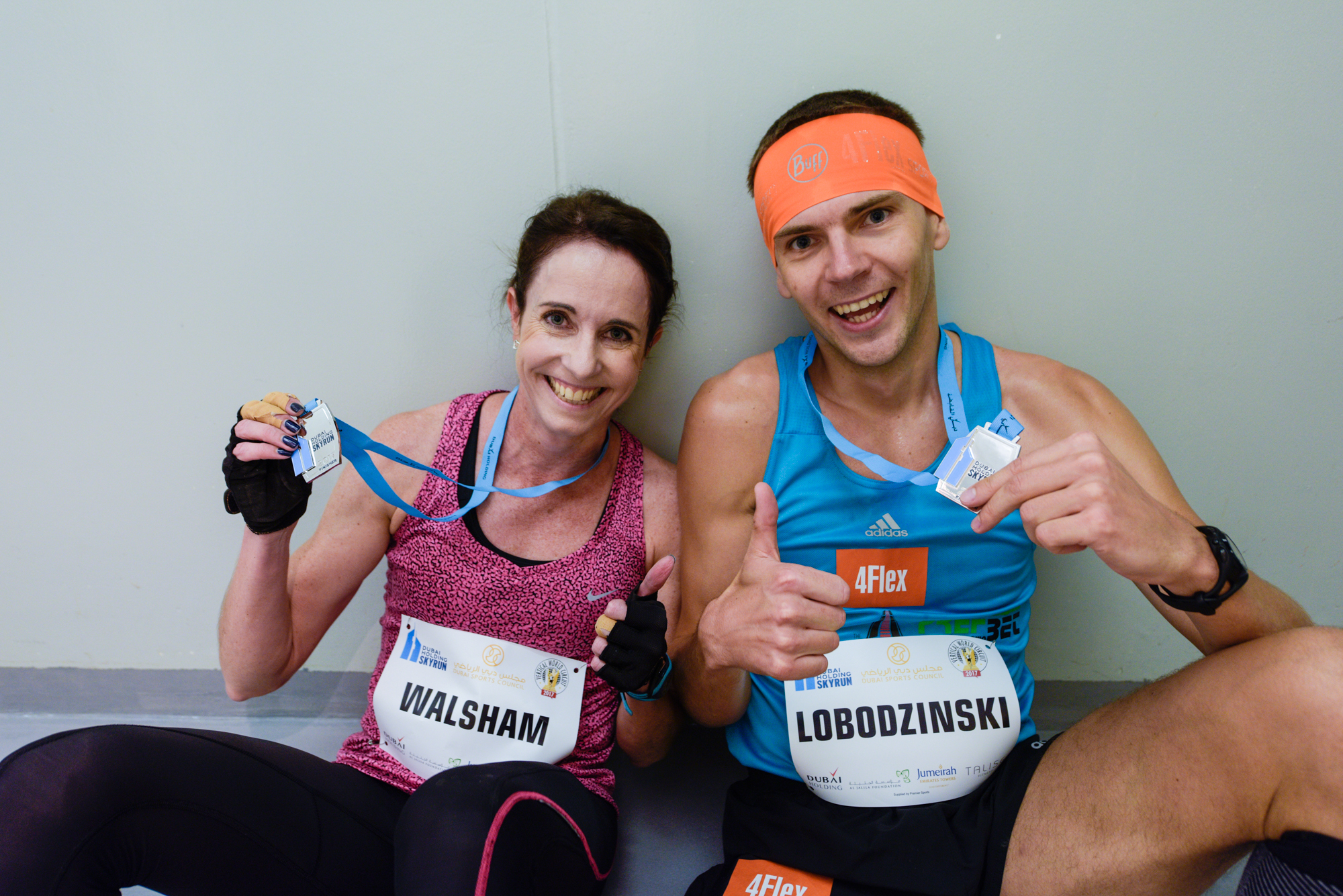 Winners Walsham and Lobodzinski. ©Dubai Holding SkyRun