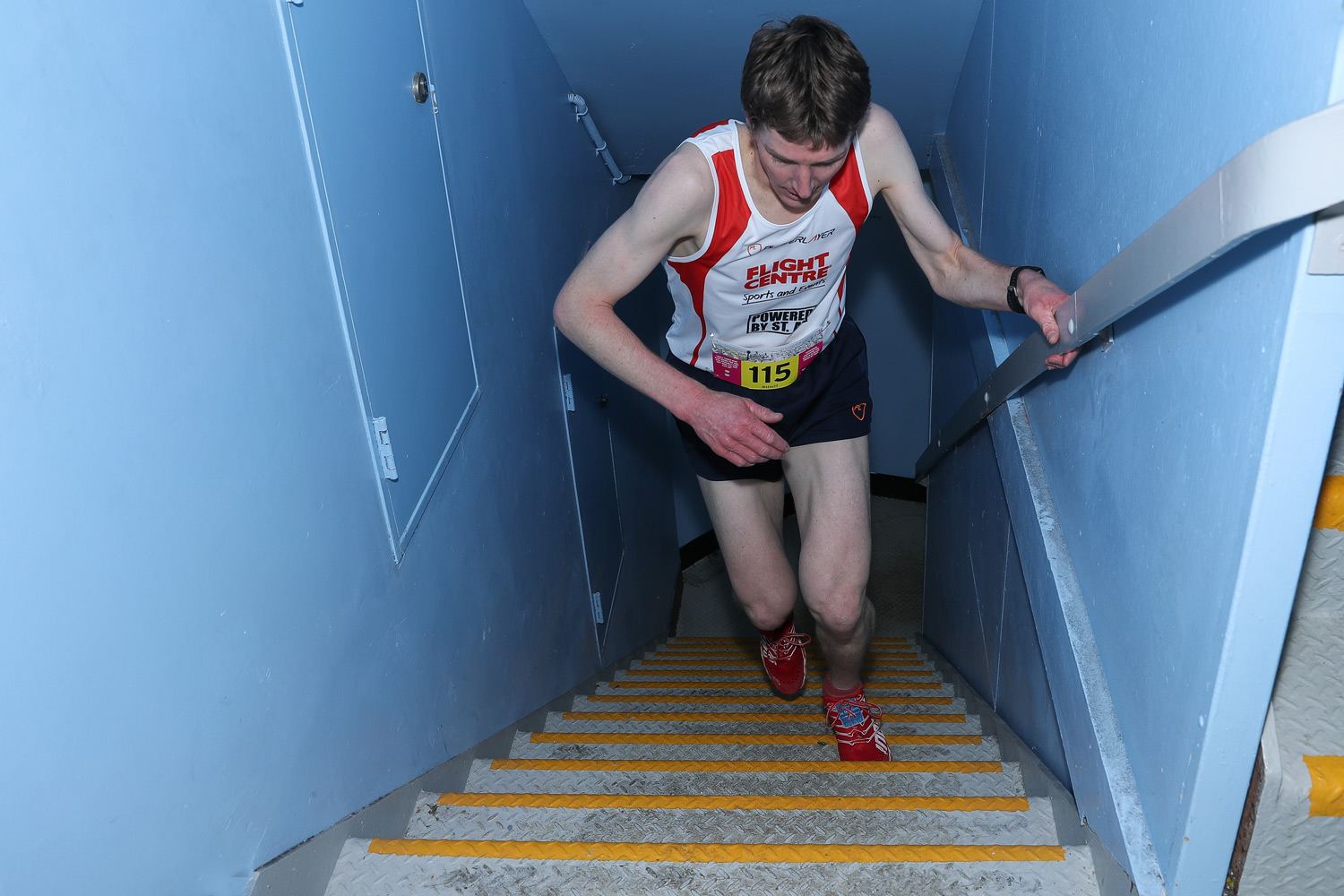 Mark Bourne on his way to victory at Sydney Tower Stair Challenge.
