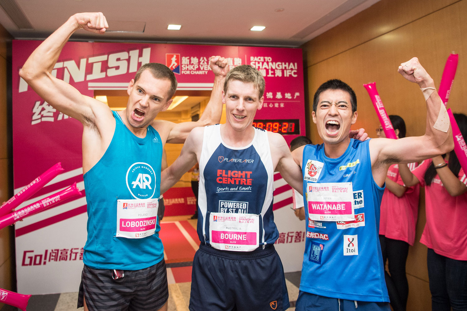 Piotr Lobodzinski, Mark Bourne and Ryoji Watanabe podium at Shanghai. ©Sporting Republic