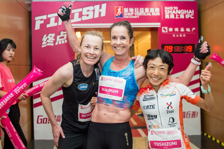 Alice McNamara, Suzy Walsham and Yuri Yoshizumi, SHKP Vertical Run for Charity: Race to Shanghai IFC . ©Sporting Republic