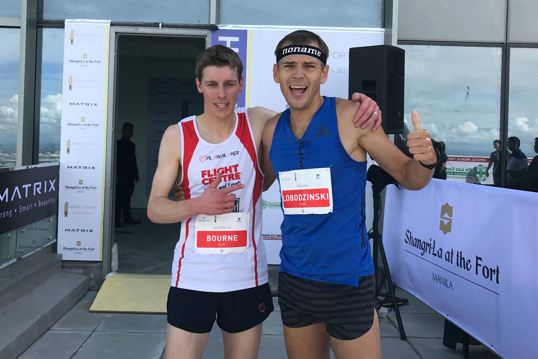 Mark Bourne and Piotr Lobodzinski, second and first at Kerry Sports Manila Vertical Run. ©Sporting Republic